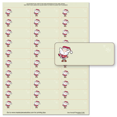 Merry Christmas Santa Address Labels — 5 Sheets — 150 Labels ...